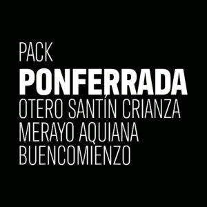 Pack Ponferrada. Con los vinos Otero Santín Crianza, Aquiana de bodegas Merayo y Buencomienzo de Aurelio Feo